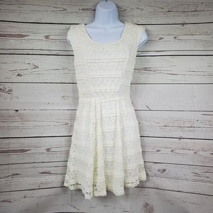 TRIXXI white lace sheath dress womens S